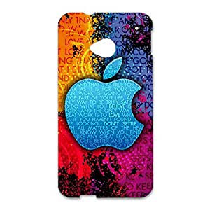 Colourful Design Apple Logo 3D Cover Case for Htc One M7 Apple Logo Phone Case