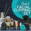 Facial Cupping Set, Improved Collagen, Reduced Fine Lines & Wrinkles - Muscle & Joint Pain. 8-in-1 Kit, 5 Facial & Body Massage Cups, Derma Roller, Cleansing Brush & Travel Bag