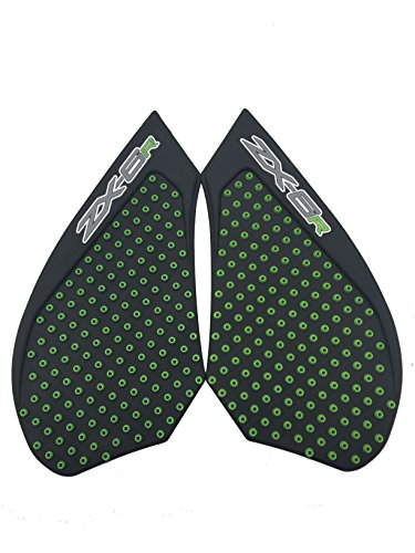 3D Green Dots Gas Fuel Tank Traction Pad Anti Side Slip Protector For Kawasaki Zx6R 07-08 ()