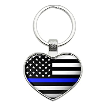 Amazon.com: Delgada línea azul bandera americana corazón ...