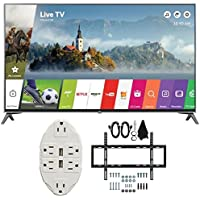 LG 60' Super UHD 4K HDR Smart LED TV 2017 Model (60UJ7700) with Transformer Tap USB w/ 6-Outlet Wall Adapter and 2 Ports & Deco Mount Slim Flat Wall Mount Ultimate Bundle Kit for 32-60 inch TVs