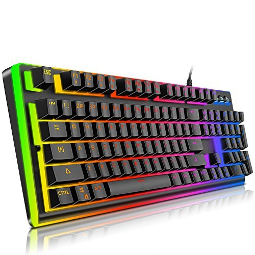 Gaming Keyboard,YockTec RGB LED Breathing Rainbow Backlit Membrane Keyboard-Mechanical-Similar Waterproof USB Keyboard, The eSports gaming keyboard (104 Keys)
