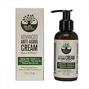 Face Cream - Organic & Natural Anti Aging Hypoallergenic Moisturizer with Peptides for All Skin Types by Youth & Botanics – 4oz
