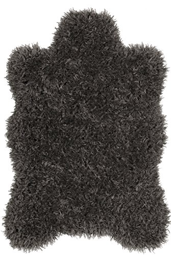 Clean Jute Rug - Ottomanson Flokati Collection Faux Sheepskin Lambskin Design Shag Rug, 2'X3'3, Dark Grey