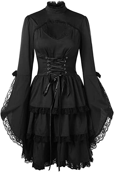 Gothic Women Steampunk Hooded Coat Back Lace Up Hooded Dress Vintage Coat