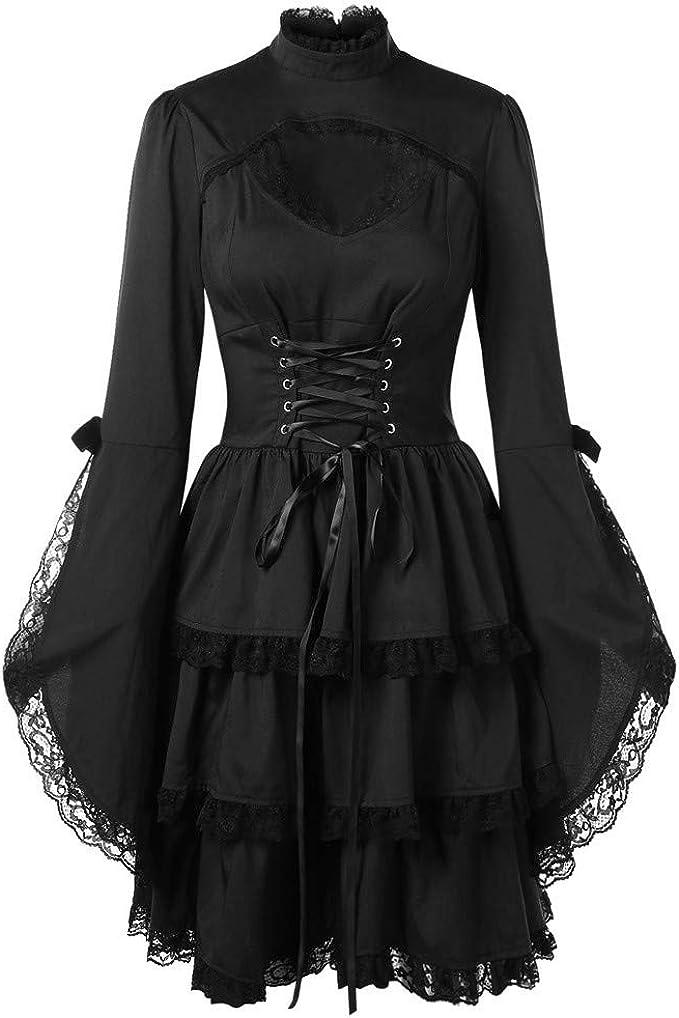 Oyedens Gothic Kleidung Damen Frauen O Hals Aufflackern Hülse Herausgeschnittene Spitze Nordnung Partei Minikleid Langarm Tuffärmel Kleid