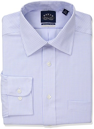 Eagle Men's Stretch Regular Fit Check Spread Collar Dress Shirt, Afternoon Sky 17.5