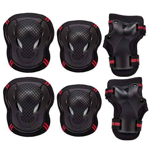 HOPAS Kids Knee Elbow Wrist Protective Guard Pads, BMX Inline Skating Scooter Rollerblade Cycling Skateboard Protective Gear Set  6pcs (M)