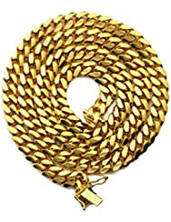 """MR. BLING 14K Yellow Gold 6mm Solid Miami Cuban Necklace with Secure Box Lock (Available in 16"""" - 30"""")"""