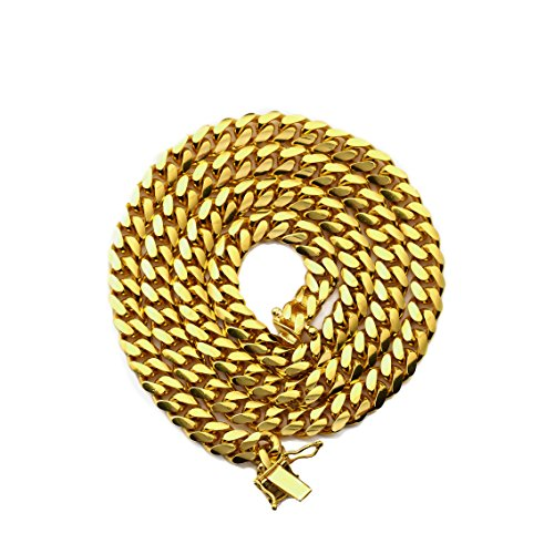 (Mr. Bling 10K Yellow Gold 6mm Solid Miami Cuban Link Chain Necklace with Secure Box Lock (30))