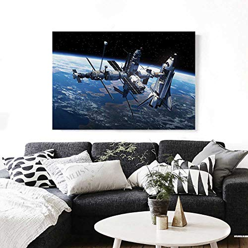 Dora Adventure Globe - Outer Space Art-Canvas Prints Space Shuttle and Station View Cosmonaut Adventure on Myst Globe Orbit Off Modern Wall Art for Living Room Decoration 32
