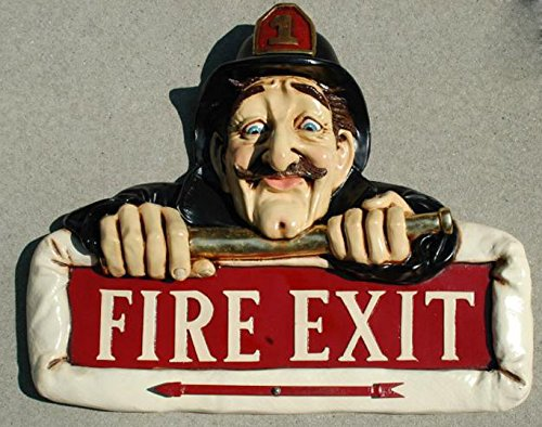 FIRE EXIT SIGN old man fireman w hat arrow vintage antique styl store shop bar