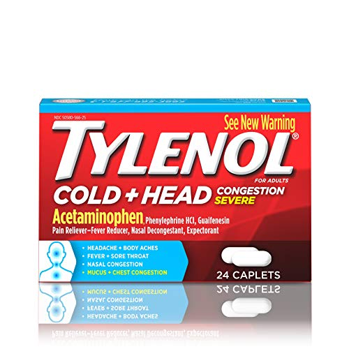 - Tylenol Cold + Head Congestion Severe Medicine Caplets for Fever, Pain & Congestion Relief, 24 ct.