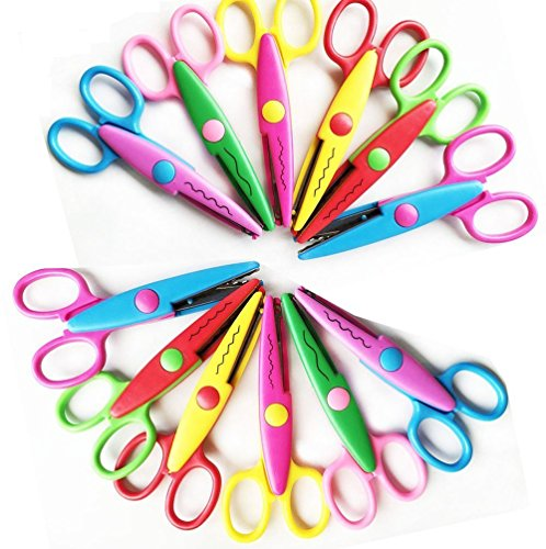 Pack of 12 Mixed Asscorted Color Paper Creative Craft Decorative Wave Lace Edge Edging Scissors 5IN