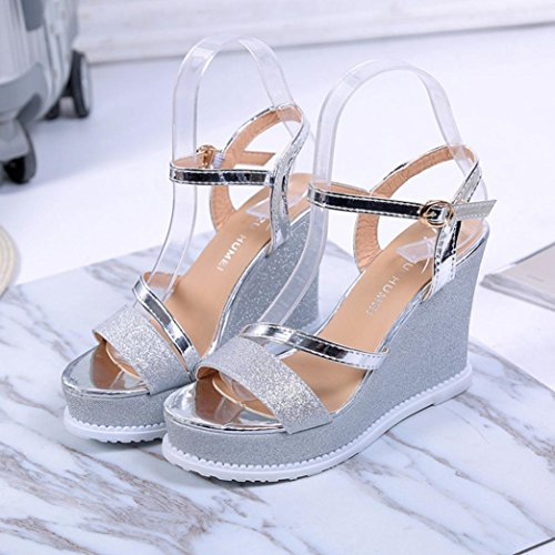 Peep la ❤️ Femme Xinxinyu Mode Sandales Femmes Cheville de Boucle à Toe Sandales Argent Plateforme Compensées Ete Sangle Chaussures qZx1AxS0