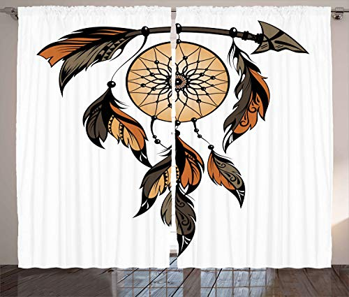 Ambesonne Ethnic Curtains, Native American Dreamcatcher Tribal Spiritual Feathers Image, Living Room Bedroom Window Drapes 2 Panel Set, 108W X 63L Inches, Charcoal Grey Ginger Light Brown