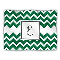 """Kess InHouse KESS Original """"Monogram Chevron Green Letter E"""" Pet Dog Blanket, 60 by 50-Inch"""