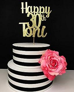 Custom Name 30th Birthday Cake Topper Dirty Thirty 30 Gold