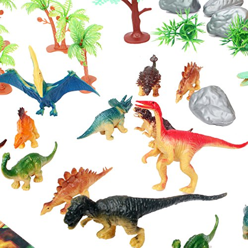 50 Piece Dinosaur Play Set: Ultimate Educational Toy of 20 Realistic Dinosaurs + 29 Trees & Rocks + PlayMat | Walking Dinos with Moving Jaws To Develop Kids Imagination | Top Dinosaur Gift Set by ToyVelt (Image #3)