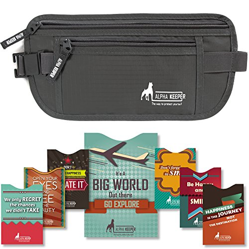 Silk Black Belt (Money Belt For Travel with 1x Passport and 6 x Credit Card Protector RFID)