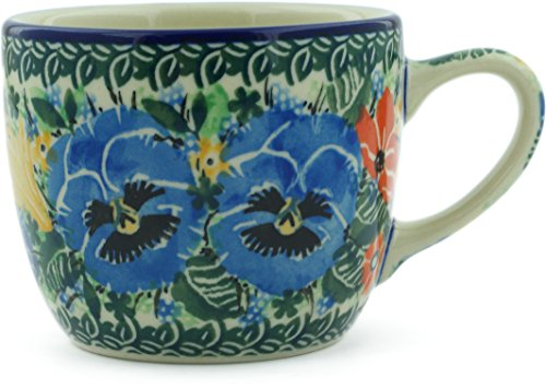 Polish Pottery 6 oz Cup made by Ceramika Artystyczna (Pansy Pair Garden Theme) Signature UNIKAT + Certificate of Authenticity