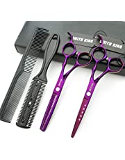 Hair Cutting Scissors Set with Combs Lether Scissors Case,Hair cutting shears Hair Thinning shears For Personal and Professional (6.0 inch, Violet)