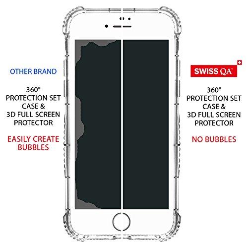 Caja de la Tarjeta IPhone 8 Plus con 2 Cubiertas Intercambiables Negro y Oro - Cubierta de Absorción de Alta Calidad Mejor Protección de Parachoques para las Gotas Accidentales - Garantía de SWISS-QA Oro 360° Protection Blanco