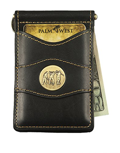 Golf Slim Wallet - Palm West Leather Minimalist Leather Money Clip Wallet with RFID with Medallion (Dark Brown Leather, Golfer Medallion)