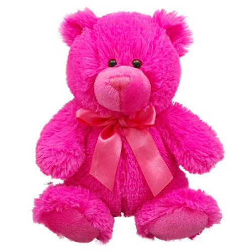 Anico Plush Teddy Bear, Stuffed Animal, Bright Pink, 8 Inches Tall