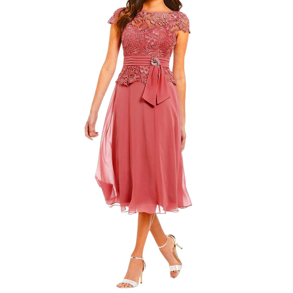 Vintage Floral Lace Cocktail Formal Swing Dress,❤️Serzul Summer Sexy Short Sleeve Slim Wedding Dress for Women(4 Colors) Hot Pink