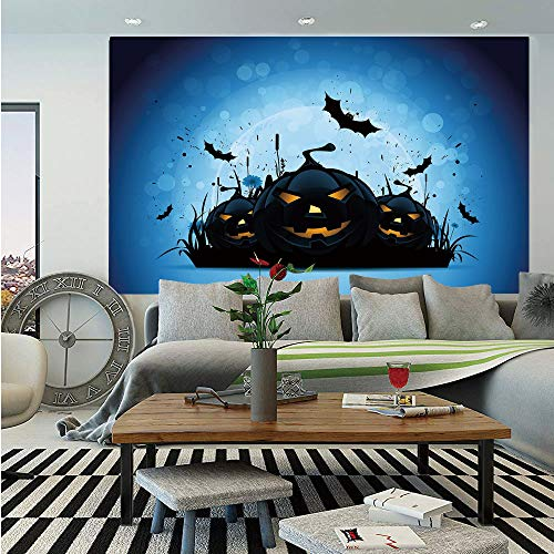 SoSung Halloween Huge Photo Wall Mural,Scary Pumpkins in Grass with Bats Full Moon Traditional Composition Decorative,Self-Adhesive Large Wallpaper for Home Decor 108x152 inches,Black Yellow Sky Blue ()