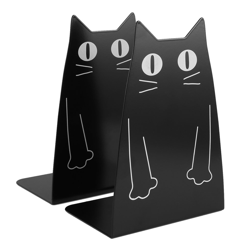 Cat Metal Bookend, Kioneer one Pairs Cute cat Fashion Style Bookend for School Library Shelf Home Office Decoration
