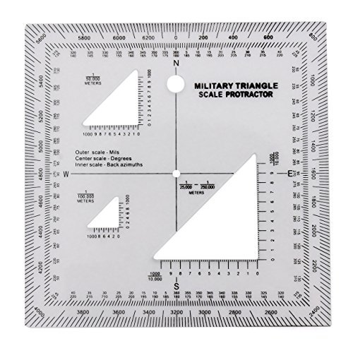 Military UTM/MGRS Coordinate Scale - Map Reading and Land Navigation - Topographical Map Scale, Protractor and Grid Coordinate Reader - Pairs with Compass and Pace Counter Beads by Golden Eye Tactical ()