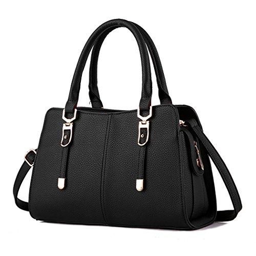 focus-modern-women-tote-bag-vintage-simple-messenger-sling-handbag-black
