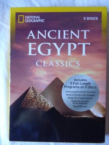Ancient Egypt Classics by National Geographic, 5 discs include programs: 1~ Unlocking the Great Pyramid...2~Nefertiti & the Lost Dynasty...3~King Tut's Final Secrets...4~Egyptian Secrets of the Afterlife...5~Egypt Eternal