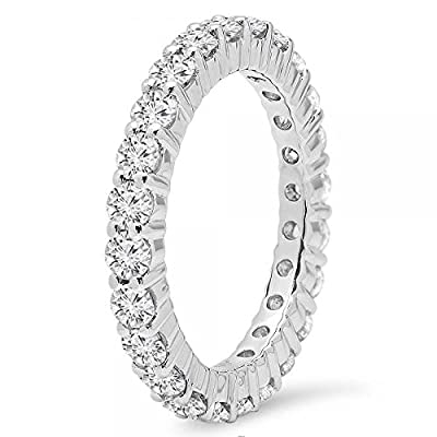 1.00 Carat (ctw) 14K Gold Round Diamond Ladies Eternity Wedding Anniversary Stackable Ring Band