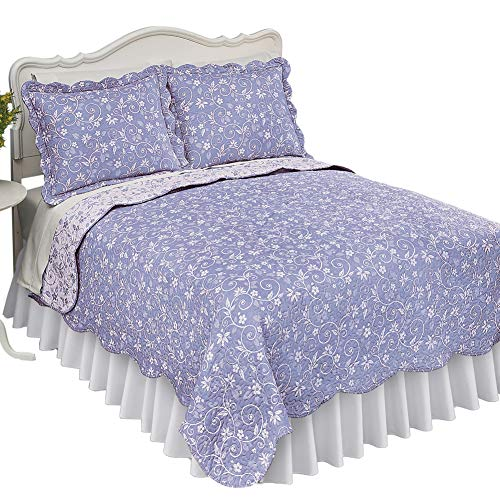 Collections Etc Reversible Floral Quilt with Scalloped Edges and Two-Tone Design, Lavender, King (Quilt Lavender Set)