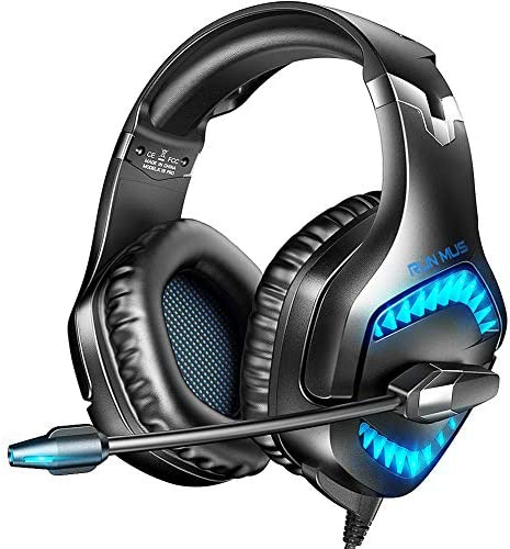 RUNMUS Gaming Headset for New Xbox One, PS5, PS4, PC Headset with Stereo Sound, Noise Canceling PS4 Headset with Mic & LED Light, Over-Ear Headphones for PC PS5 Mac Switch