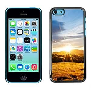 PC/Aluminum Funda Carcasa protectora para Apple Iphone 5C Nature Mountain Sunset / JUSTGO PHONE PROTECTOR