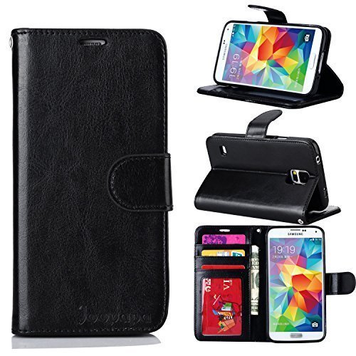 Joopapa Pu Leather Magnet Wallet Flip Case Cover with Built-in Credit Card/ID Card Slots for Samsung Galaxy S5,Galaxy Sv,Galaxy S5 I9600,Black (Case Galaxy S5 Wallet Flip)