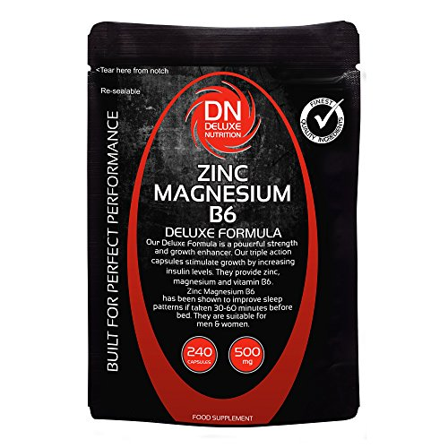 Zinc Magnesium B6 240 Capsules 500mg | Deluxe Formula | Upto 3 months...