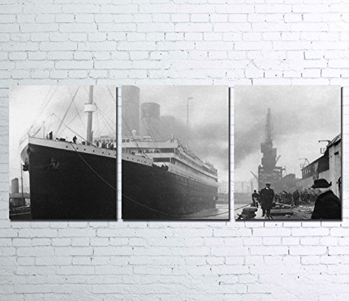 3PCS Framed Titanic Canvas Prints - 3 Piece Canvas Classic Titanic Wall Art for Office and Home Wall Decor (Large: 24x30inch x3pcs (60cm x 75cmx3pcs))