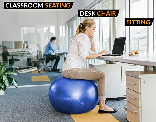 Exercise Ball for Yoga, Balance, Stability from SmarterLife - Fitness, Pilates, Birthing, Therapy, Office Ball Chair, Classroom Flexible Seating - Anti Burst, Non Slip + Workout Guide (Blue, 65cm) by SmarterLife Products (Image #5)