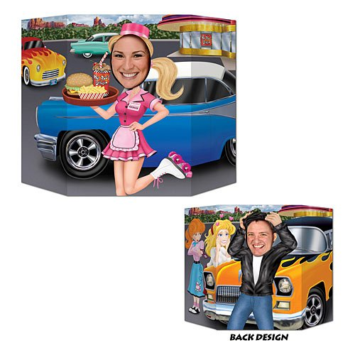 Car Hop/Greaser Photo Prop (1 side car hop; other side greaser) Party Accessory  (1 count) (1/Pkg) -