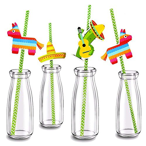 Mexican Straw - Finico Set of 36,Paper Straw Decor,for Mexican Fiesta Party,New Pattern Mexican Fiesta Party Striped Decorative Straws