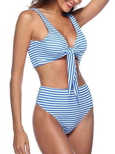 Sophieer Teens Bikini 2 Pieces Pinstripe High-Waist Cute Beachwear Push-up Swimming Wear Blue L