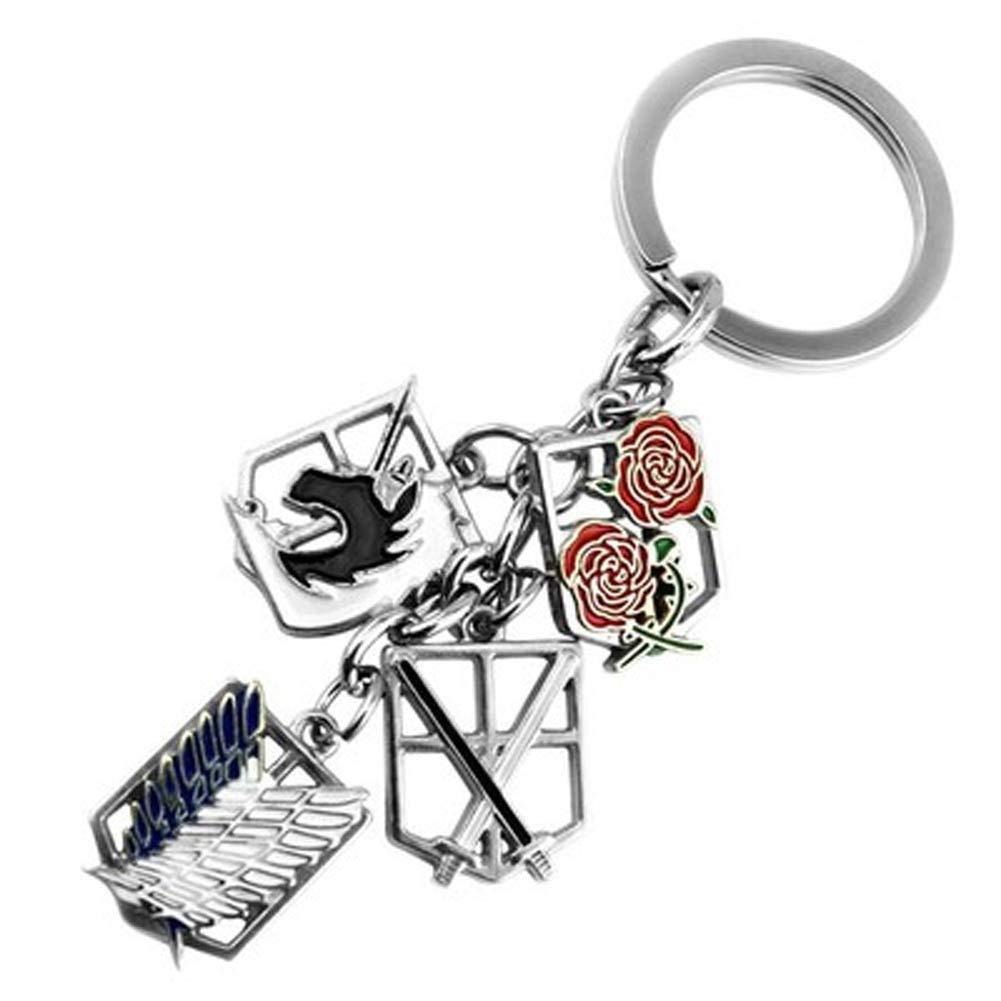 Amazon.com: Anime keychain Attack on Titans badge pendant ...