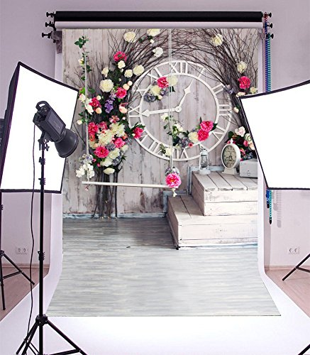 Laeacco 5x7ft Vinyl Photography Backdrop Valentine's Day Flowers Paper Old Tree Branch Vintage Clock Lantern Rustic Stripes Wood Plank Grunge Floor Interior Photo Background Children Baby Portraits