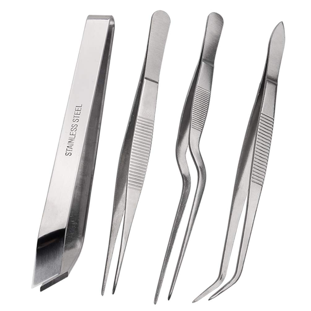 Pinovk Tongs Tweezers, 4-Piece Set 5.5 inches Stainless Steel Tongs Tweezer with Chef Cooking Utensils/Precision Serrated Tips/Medical Beauty Utensils/Tool Sets, Silver