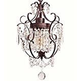 Starthi Antique Brass Crystal Chandelier, Wrought Iron Ceiling Pendant Lighting Fixture, 1
